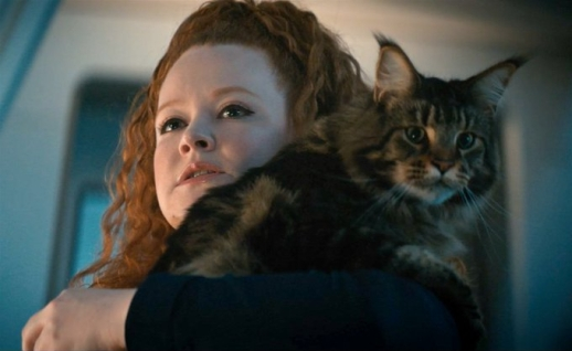 Ensign Tilly tells Grudge she's not a cat person, but Grudge conquers all.