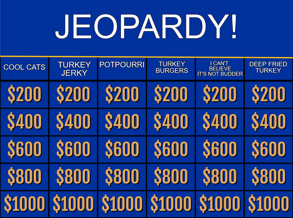Jeopardy featuring Buddy the Cat